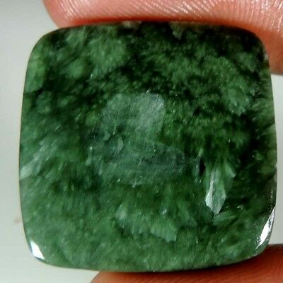 24.10 CTs NATURAL DESIGNER GREEN SERAPHINITE CUSHION CABOCHON UNTREATED GEMSTONE