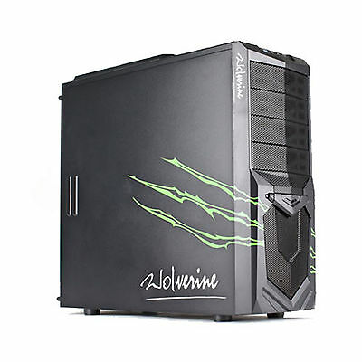 Avp Atx Wolverine Green Bc-Wf18G Computer Case Black Gaming Pc Tower
