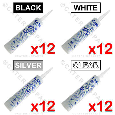 PACK 12 x HIGH TEMP SILICONE SEALER 204C° BLACK WHITE GREY OR CLEAR 310ml TUBES