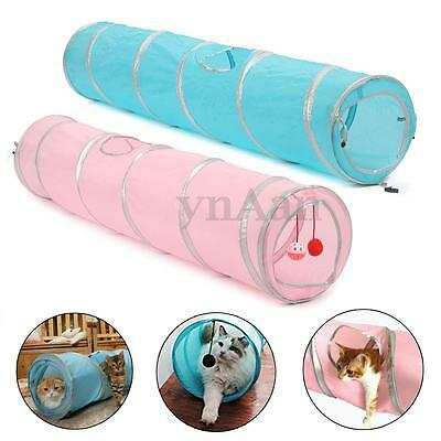 Large Pet Cat Kitten Rabbit Tunnel Collapsible Train Crackle Play Toy 120x24cm