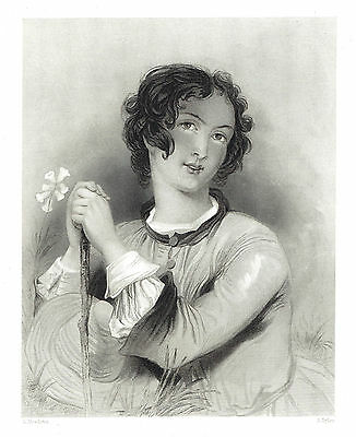 """Rosalind"" (Shakespeare's As You Like It) Engraving after A. Meadows - c1840"