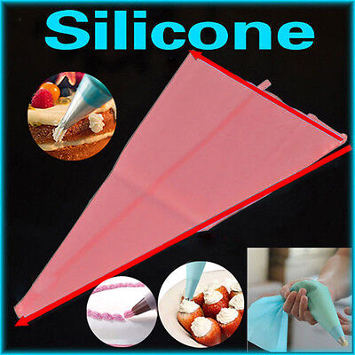 3Size Silicone Reusable Icing Piping Cream Pastry Bags DIY Cake Decor Tools HOT