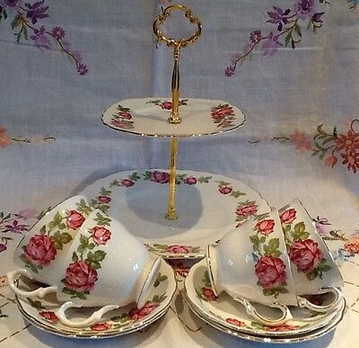 *vintage Pink Roses Cake Stand With 4 Cups And Saucers*