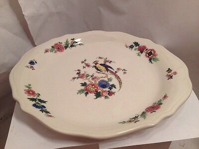 "Vintage  Syracuse Bird of Paradise  Scalloped Dinner plate  -- 10 3/4"" across"