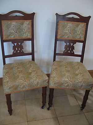 Pair of antique style side dining chairs