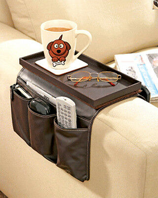 Arm Rest Remote Control Holder Sofa Organiser With Tray Faux Leather