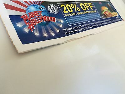 PLANET HOLLYWOOD (London) 20% off Food/Soft Drinks/Merchandise Coupon/Voucher