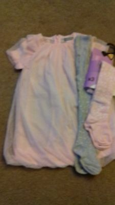 Brand New - Girls Dress And Tights - 3-6 Months