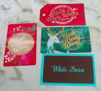 Three Bath & Body Works Gift Cards Christmas,Holiday, White Barn, Collectible