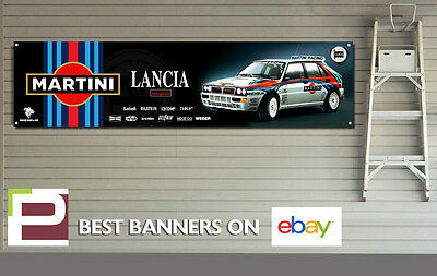 Martini Lancia Integrale Garage Banner for Workshop, Garage, Retro Group B Rally