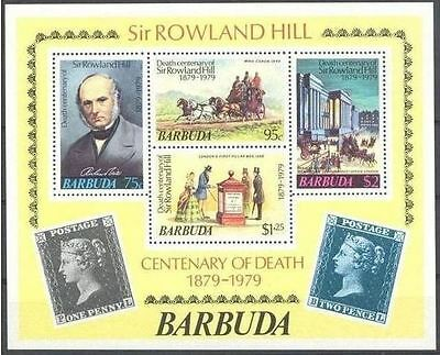 Pferdekutschen  Barbuda 1979 Mnh ** Rowland Hill One Penny Horse Coach Stamps