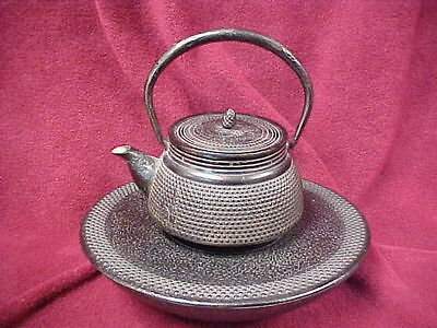 Vintage Cast Iron Asian Tea Pot With Warmer Base