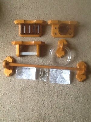 Wooden Towel Holders, Soap Dish, Toothbrush Holder & Cup, Toilet Roll Holder.