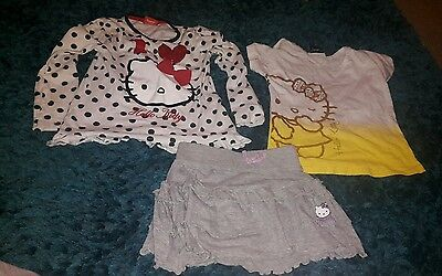 Girls hello kitty tops and skirt age 5
