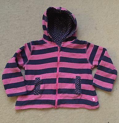 JoJo Maman Bebe Reversible Pink Blue Stripe Spotty Zip Hoodie Jumper 2-3 Years