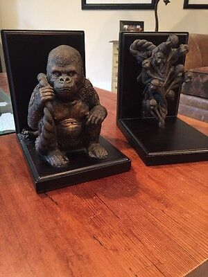 Gorilla  & Matching Baby Gorillas Bookends Bronzed,~~ Bombay Company