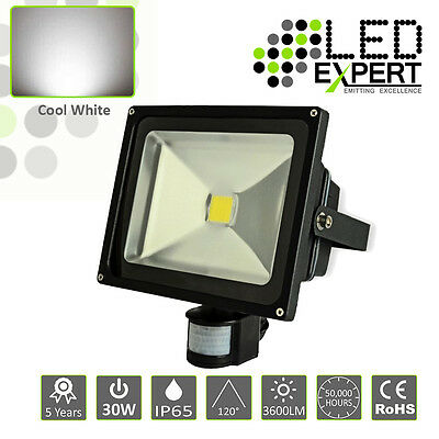 LED Expert 30w PIR LED Flood Light Security 5 Year Warranty IP65 Cool White