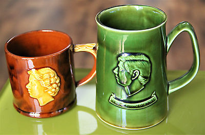 Vtg mugs Queen Elizabeth II Dartmouth Pottery/Prince Charles Holkham Pottery vgc