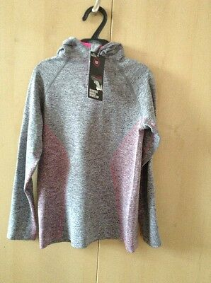 New M&s Girls Seamfree Hooded Active Sports Top Age 12-14 Yrs Bnwt