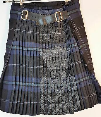 """Ex Hire 33"""" waist 25"""" drop Silver Thistle 8 Yard Wool Kilt One Only A1 Condition"""