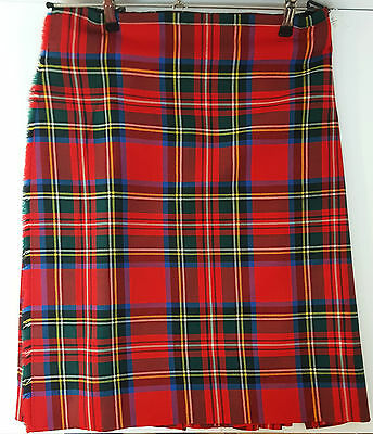 "Ex Hire 52"" waist 25""drop Royal Stewart 6 Yard Wool Kilt A1 Condition"