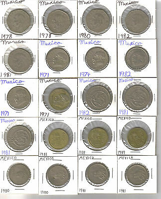 Mexico Coin Junk Drawer Lot Collection 37 Coins $1, $5, $10, $20, $100 Peso