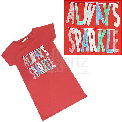 Girls Top UK Store Red 'Always Sparkle' Glitter Nightdress Nightie Age M S
