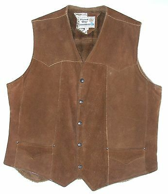Pioneer Wear Suede Leather Vest Brown Size Men's Large (46) VGC Made in USA