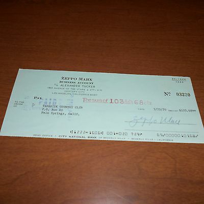 Zeppo Marx, was an American actor, comedian, Hand Signed 1970 Check