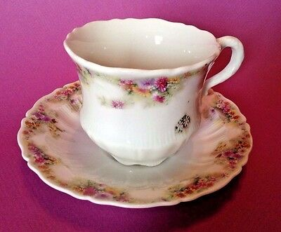 CT Carlton Tielsch Germany Tea Cup And Saucer - Ruffled Shape -Tiny Wildflowers