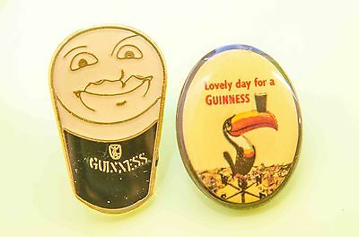 Two Guinness Metal and Enamel Pin Badges