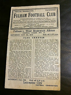 FULHAM v WEST BROMWICH ALBION WBA 1948-49  FOOTBALL LEAGUE DIVISION 2