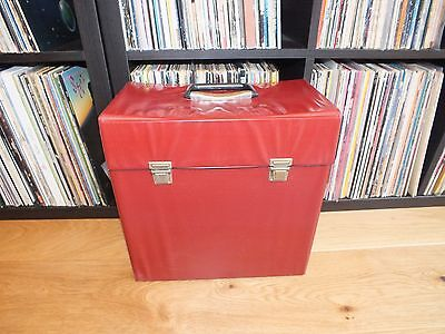 Vintage Red Vinyl LP Record Case Cleaned Good Condition Retro