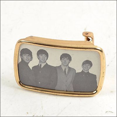 The Beatles Belt Buckle Cool Gold Tone Black & White Picture
