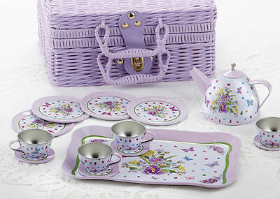 Children's Tin Tea Set for 4-Medium Size- Pansy Pattern #8000-7