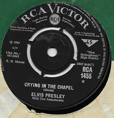 "Elvis Presley - Crying In The Chapel Original Rca 7"" Single"