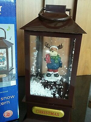 25cm Musical Snow Blowing Lantern & White Leds -Brown Reindeer Perfect Xmas Gift