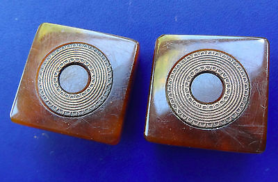 """vintage c. 1940s retro 0.9"""" swirled amber lucite inlaid clip on earrings  -D428"""
