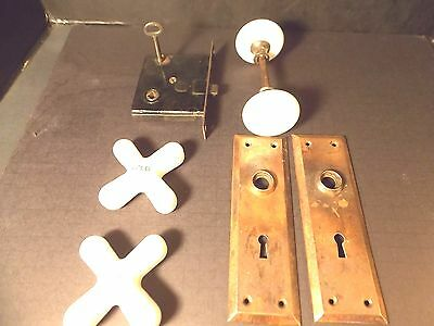 Vint. Porcelain lock set door with plates and Key+ Porcelain HOT-COLD  Handles