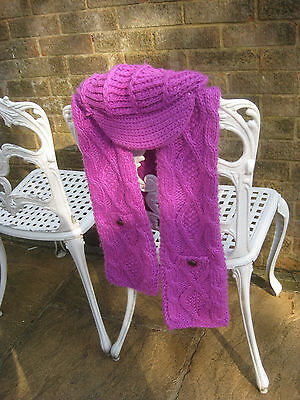 Ladies Pink Purple Hat and Scarf Set with Buttons and Pockets