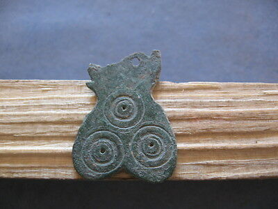 """3 Evil Eyes"" Heart Shaped Amulet Ancient Celtic Bronze Pendant 600-400 Bc"