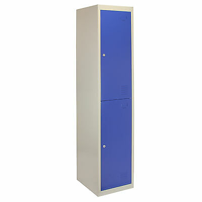 Metal Lockers 2 Doors Steel Staff Storage Lockable Gym School Blue - 45cm D