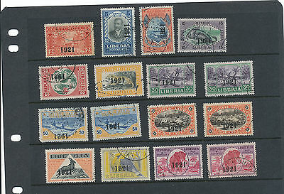 Liberia 1921 overprints selection of used
