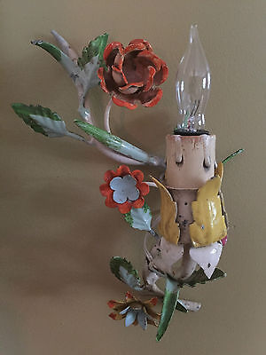 Italian Tole Single Light Sconce with Flowers ~ 1940's Vintage Chick