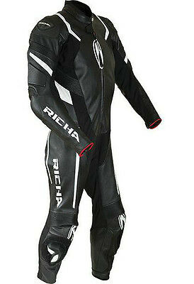 Richa Attack 1 Piece Motorcycle Motorbike Leather Suit Black / White