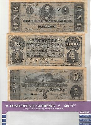 6 bills Confederate Currency  Set C Reproduction  Parchment Looks & Feels Old