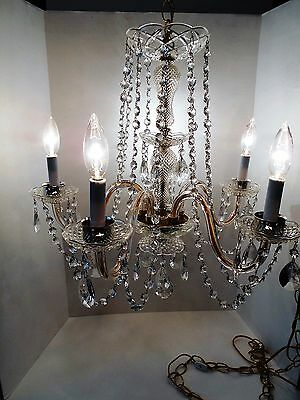 Vintage Chandelier with Prisms 5 Glass Arms Bobech Swag Light Waterfall Crystal