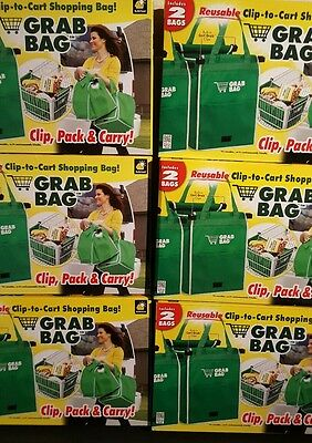 LOT of 6-Grab Bag & Go 2 Pack Reusable Shopping Bag That Clips To Your Cart ASTV