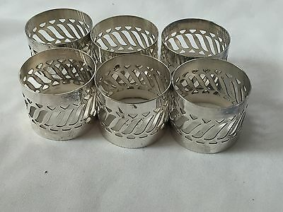 SILVER PLATED NAPKIN RINGS SET OF 6 -with Box -excellent Condition
