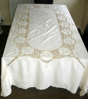 Vintage Cream Crochet Lace Inserts & Embroidered Large Rectangular Tablecloth